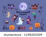 halloween party cartoon... | Shutterstock .eps vector #1198202509