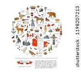 hand drawn doodle canada icons... | Shutterstock .eps vector #1198207213