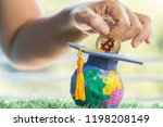 student hand dropping investing ... | Shutterstock . vector #1198208149