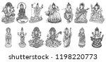 set of gods for indian festival ... | Shutterstock .eps vector #1198220773