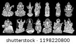 set of gods for indian... | Shutterstock .eps vector #1198220800