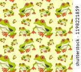 red eyed tree frog seamless... | Shutterstock .eps vector #1198221859