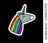 unicorn sticker doodle icon | Shutterstock .eps vector #1198222993