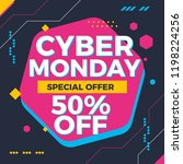 cyber monday sale banner... | Shutterstock .eps vector #1198224256