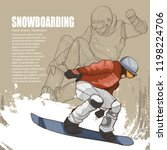 snowboarding illustration.... | Shutterstock .eps vector #1198224706