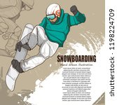 snowboarding illustration.... | Shutterstock .eps vector #1198224709