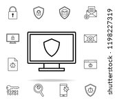 shield on the screen icon.... | Shutterstock .eps vector #1198227319