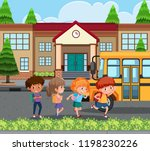 student going home by school... | Shutterstock .eps vector #1198230226