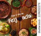 "Small photo of Brazilian Feijoada Food. Written ""Today is Feijoada's Day"" in Portuguese. Top view"