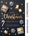 merry christmas background with ... | Shutterstock .eps vector #1198234696