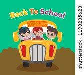 school bus illustration. back... | Shutterstock .eps vector #1198235623