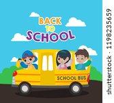 school bus illustration. back... | Shutterstock .eps vector #1198235659
