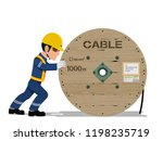 a worker is moving the cable...   Shutterstock .eps vector #1198235719
