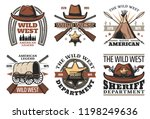 wild west icons and signs... | Shutterstock .eps vector #1198249636