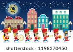 a marching cute brass band with ... | Shutterstock .eps vector #1198270450