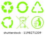 Recycle Round Icon Set On Whit...