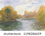 Autumn Landscape. Watercolor...