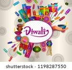 happy diwali light festival of... | Shutterstock .eps vector #1198287550