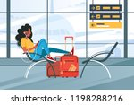 young girl waiting for flight... | Shutterstock .eps vector #1198288216