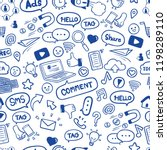 Social media in hand drawn doodles seamless pattern background