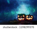 halloween holiday concept.... | Shutterstock . vector #1198299370