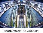 futuristic interior of metro station - stock photo