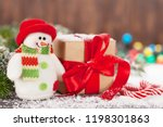 christmas gift box  candy canes ... | Shutterstock . vector #1198301863