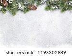 christmas fir tree branch... | Shutterstock . vector #1198302889