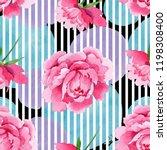 watercolor pink peony  flower.... | Shutterstock . vector #1198308400