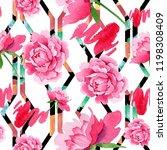 watercolor pink peony  flower.... | Shutterstock . vector #1198308409