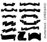 ribbon banners. set of black... | Shutterstock .eps vector #1198316413