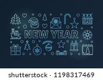 new year blue horizontal... | Shutterstock .eps vector #1198317469