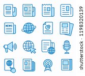 Stock vector news flat line icons set of article media paper document information and more editable stroke 1198320139