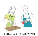 man and woman in the kitchen....   Shutterstock .eps vector #1198320910