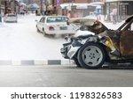front of car crash accident... | Shutterstock . vector #1198326583