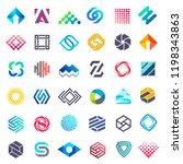 big vector set of logo design.... | Shutterstock .eps vector #1198343863
