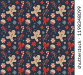 christmas seamless pattern with ... | Shutterstock .eps vector #1198348099