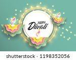 happy diwali. paper graphic of... | Shutterstock .eps vector #1198352056