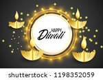 happy diwali. paper graphic of... | Shutterstock .eps vector #1198352059