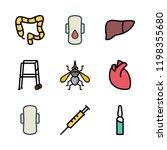 disease icon set. vector set... | Shutterstock .eps vector #1198355680