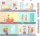 spa salon receptionist and... | Shutterstock .eps vector #1198361536