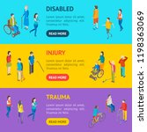isometric disabled people... | Shutterstock .eps vector #1198363069