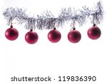 Series of isolated red christmas ball on white background - stock photo