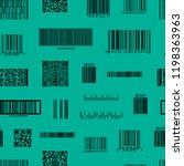 barcode and qr code seamless...   Shutterstock .eps vector #1198363963