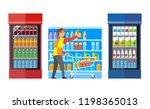 supermarket shop with fridges... | Shutterstock .eps vector #1198365013