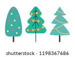 christmas tree decorated with... | Shutterstock .eps vector #1198367686