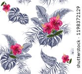 seamless exotic pattern with... | Shutterstock .eps vector #1198372129