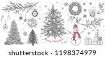 christmas pattern in sketch... | Shutterstock .eps vector #1198374979