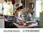 japanese woman cooking in a... | Shutterstock . vector #1198380880