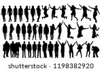 vector isolated people jumping... | Shutterstock .eps vector #1198382920